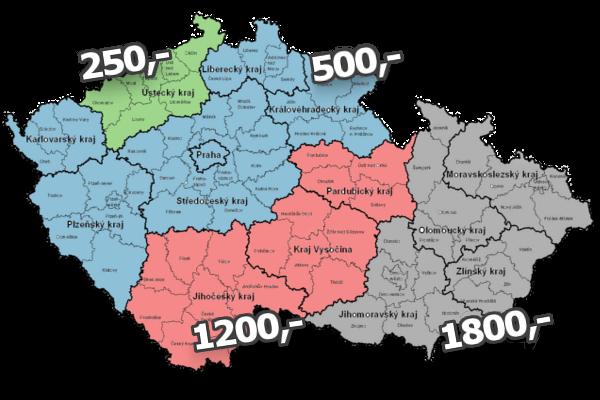 Mapa rozvozových zón